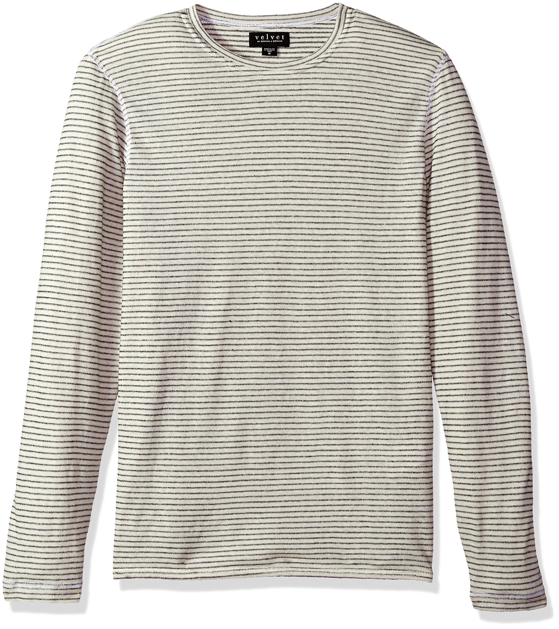 VELVET BY GRAHAM & SPENCER Men's Velvet Westy Stripe Long Sleeve Sweater, Ecru, Large