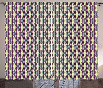ambesonne retro curtains abstract ethnic in vibrant geometric hexagon forms vintage design living room - Retro Curtains