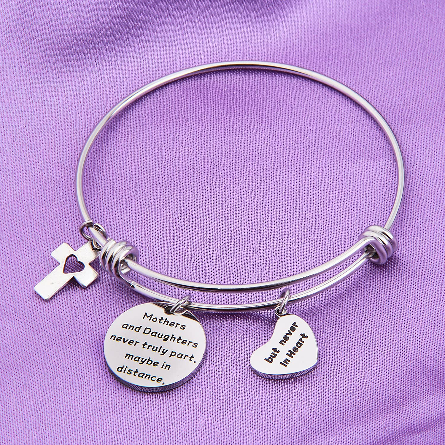 MAOFAED Mother Daughter Bracelet Mothers and Daughters Never Truely Part Maybe in Distance But Never in Heart