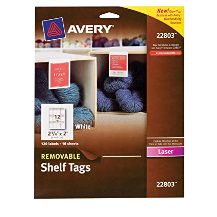 amazon com avery removable shelf tags for laser printers 2 x 2 25