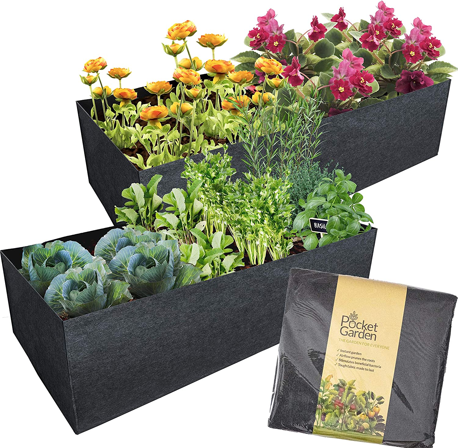 Pocket Garden Fabric Raised Bed Planter - Felt Container 24 x 48 Inches Nonwoven Materials, Perfect For Growing Plants, Flowers And Vegetables - For Small Space Balcony - Rectangle Size (Pack of 2)