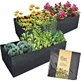 Pocket Garden I 2pk Fabric Raised Bed 60 x 120cm Large Square Planting 214L Grow Bag Planter Durable Instant to Grow…