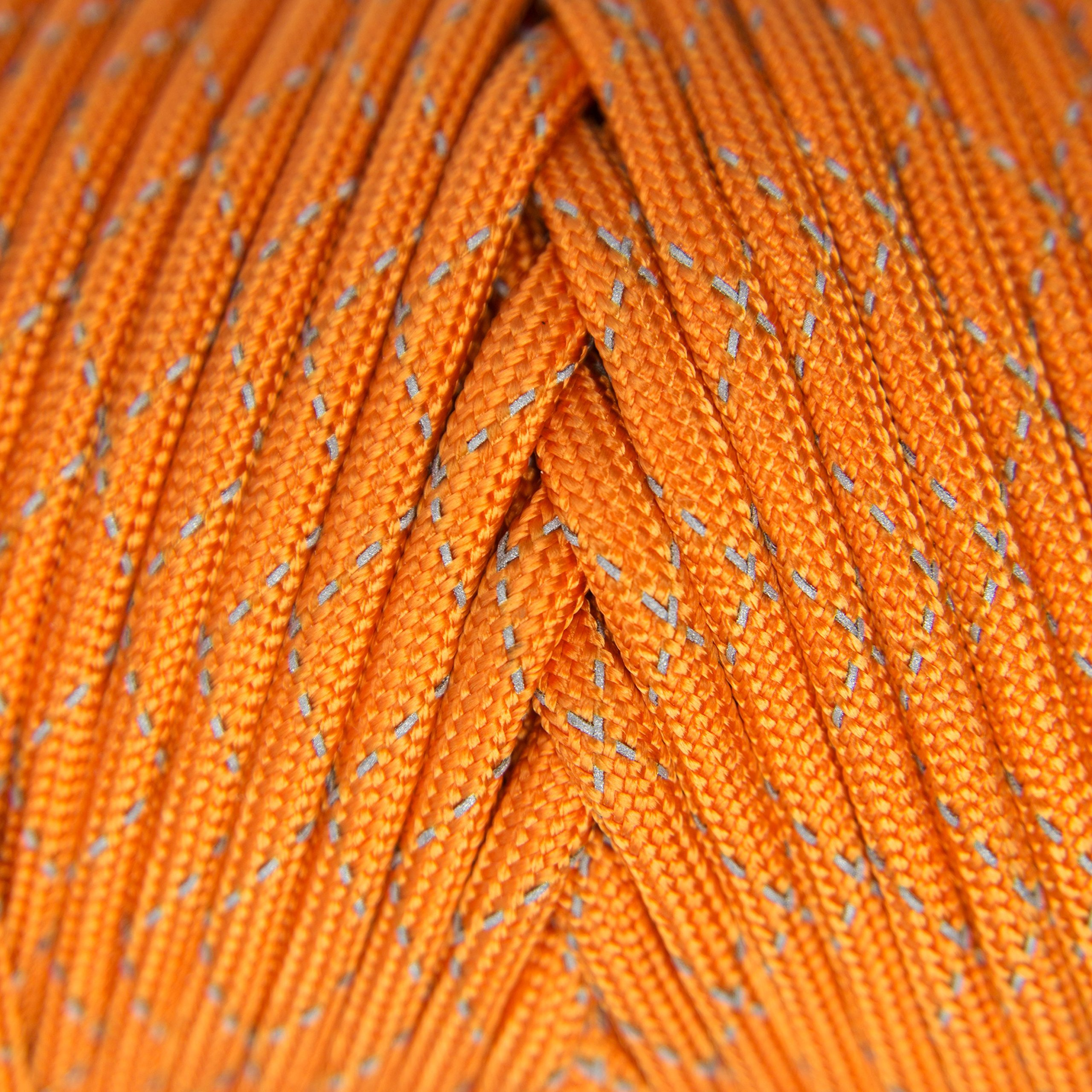 TOUGH-GRID New 700lb Double-Reflective Paracord/Parachute Cord - 2 Vibrant Retro-Reflective Strands for The Ultimate High-Visibility Cord - 100% Nylon - Made in USA - 100Ft. Neon Orange Reflective by TOUGH-GRID (Image #3)