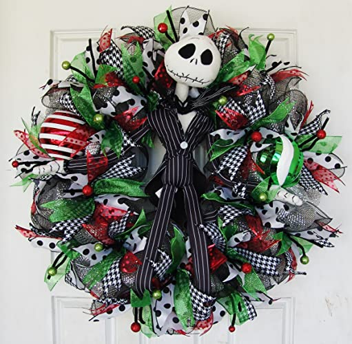 clearance christmas jack skellington deco mesh front door wreath nightmare before christmas nbc disney - Jack Skellington Christmas Decorations