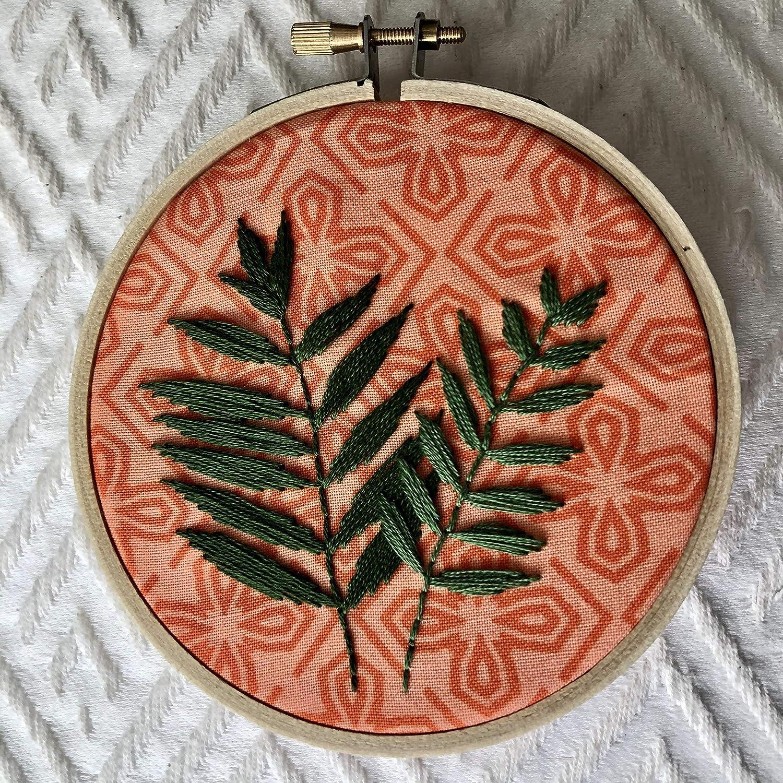 Amazon Com Palm Leaf Tropical Embroidery Art 4 Handmade Tropical leaf decor ideas | handy little me. palm leaf tropical embroidery art
