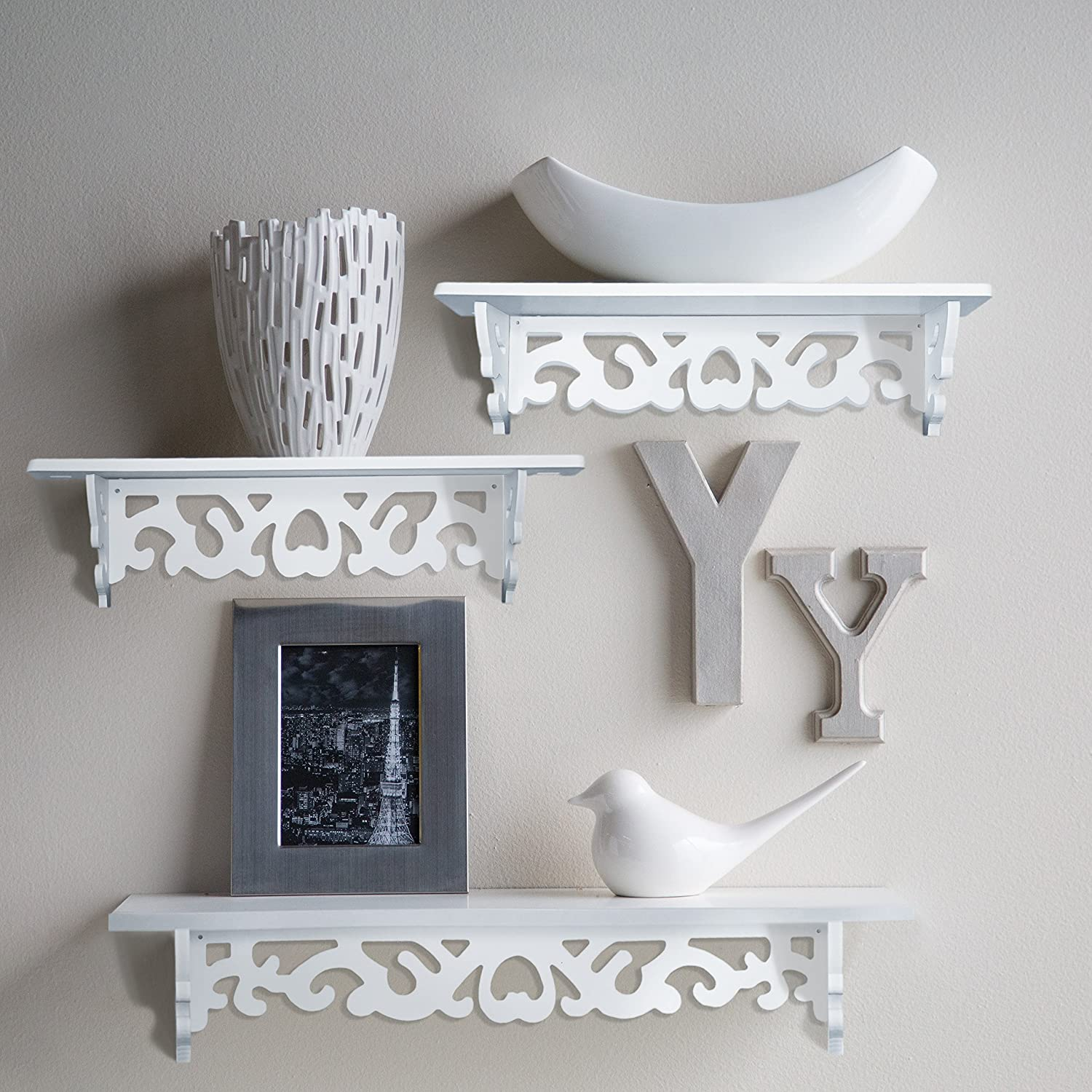 White Wall Shelves Part - 32: Amazon.com: Set Of 3 Floating Wall Shelves, Great For Books Or Collections,  Add Design And Taste To Your Room!: Home U0026 Kitchen