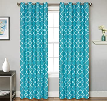 BEDnLINENS 2 Piece Set Cartel Window Panels Embroidered Grommet Top Decorative Curtains, 54