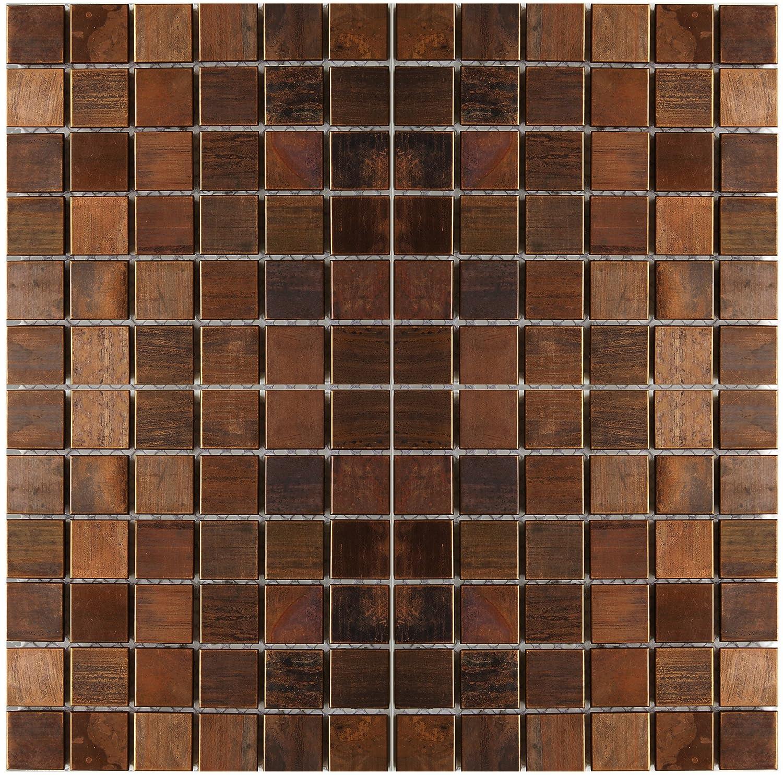 Medium Square Antique Copper Mosaic Tile Kitchen Backsplash Bath