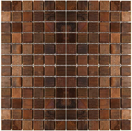 Medium Square Antique Copper Mosaic Tile Kitchen Backsplashbath