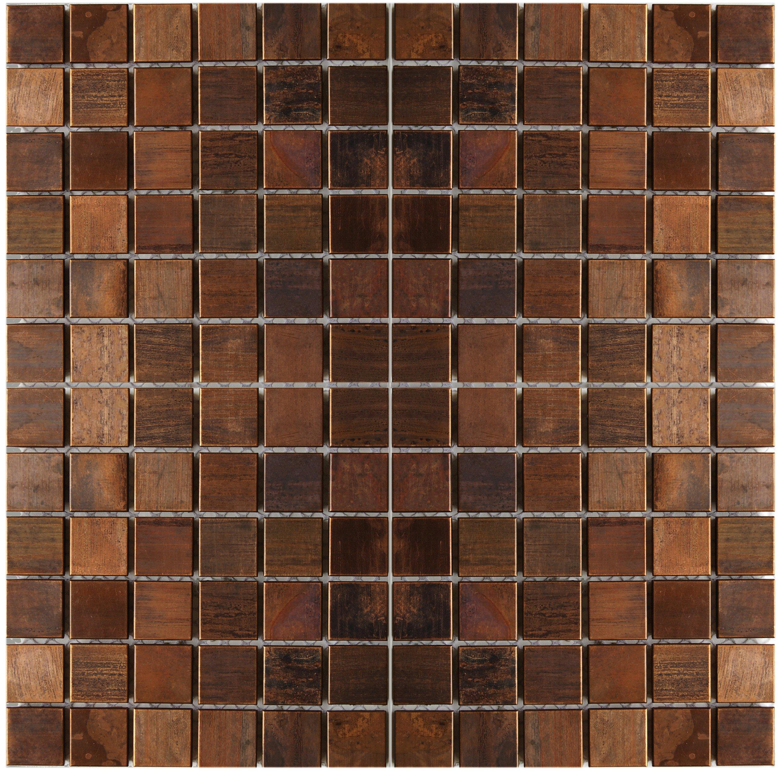 Medium Square Antique Copper Mosaic Tile - Kitchen Backsplash/Bath Backsplash/Wall Decor/Fireplace Surround by Eden Mosaic Tile
