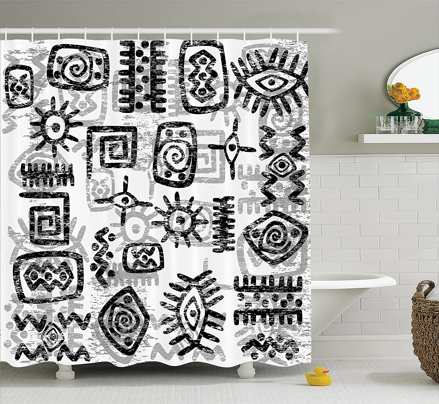 Ambesonne Grunge Home Decor Collection, Grunge Style Art with Ancient African Symbols Geometric Ethnic Pattern Print, Polyester Fabric Bathroom Shower Curtain, 75 Inches Long, Black White