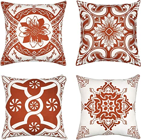 Amazon Com 4pack Printed Cushion Case Throw Pillow Cover For Sofa Home Decorative Pillowslip Gift Ideas Household Pillowcase Zippered Pillow Cover To Dress Up Your Couch Sofa 18x18 Inch Rust Only