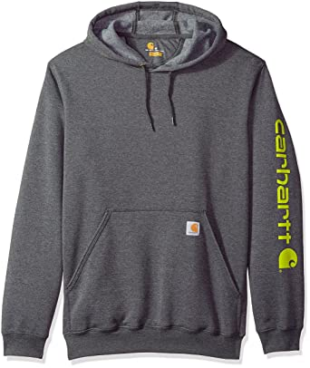 6ddc1fa75 Carhartt Men's B&t Signature Sleeve Logo Midweight Hooded Sweatshirt K288  at Amazon Men's Clothing store: