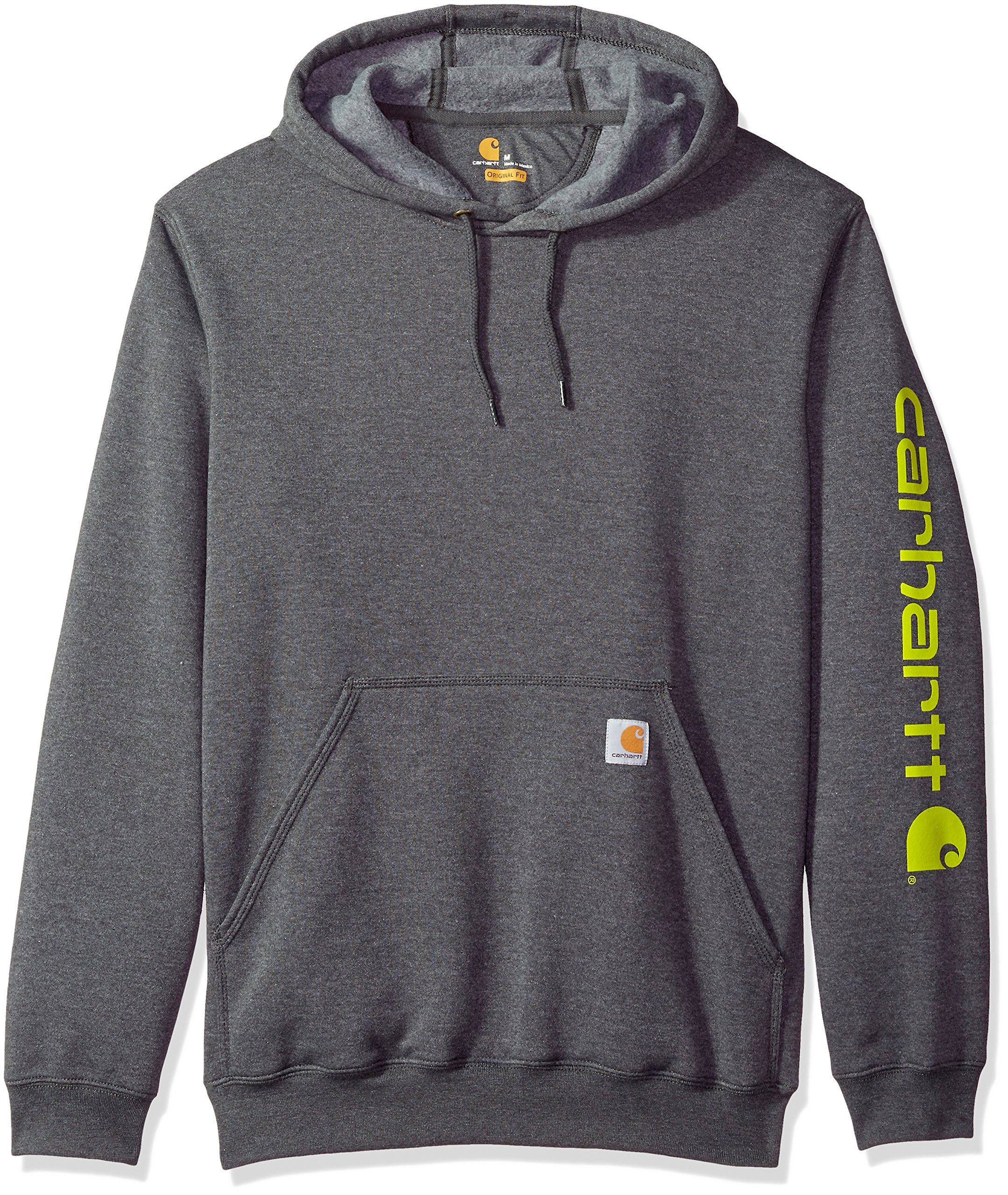 Carhartt Men's B&T Signature Sleeve Logo Midweight Hooded Sweatshirt K288, Carbon Heather, 2X-Large