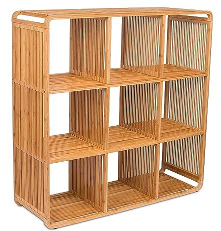 BirdRock Home Bamboo Storage Cube Cabinet   Wooden Storage Cubbies   9 Cube  Storage Unit  