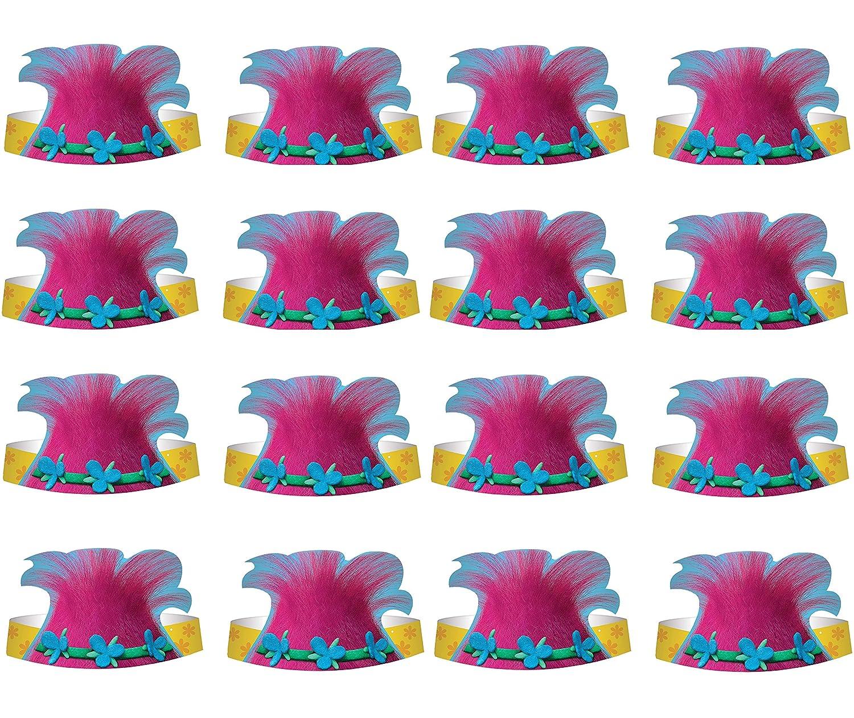 Four-seasonstore Trolls Princess Poppy Happy Birthday Paper Hat 16(ct) Party Supply