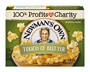 Newman's Own Microwave Popcorn, Touch of Butter, 9.6-oz. (Pack of 12)