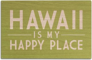 product image for Lantern Press Hawaii is My Happy Place - Simply Said (10x15 Wood Wall Sign, Wall Decor Ready to Hang)