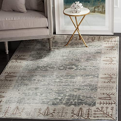 Safavieh Valencia Collection VAL118C Dark Grey and Light Grey Vintage Distressed Silky Polyester Area Rug 5' x 8'