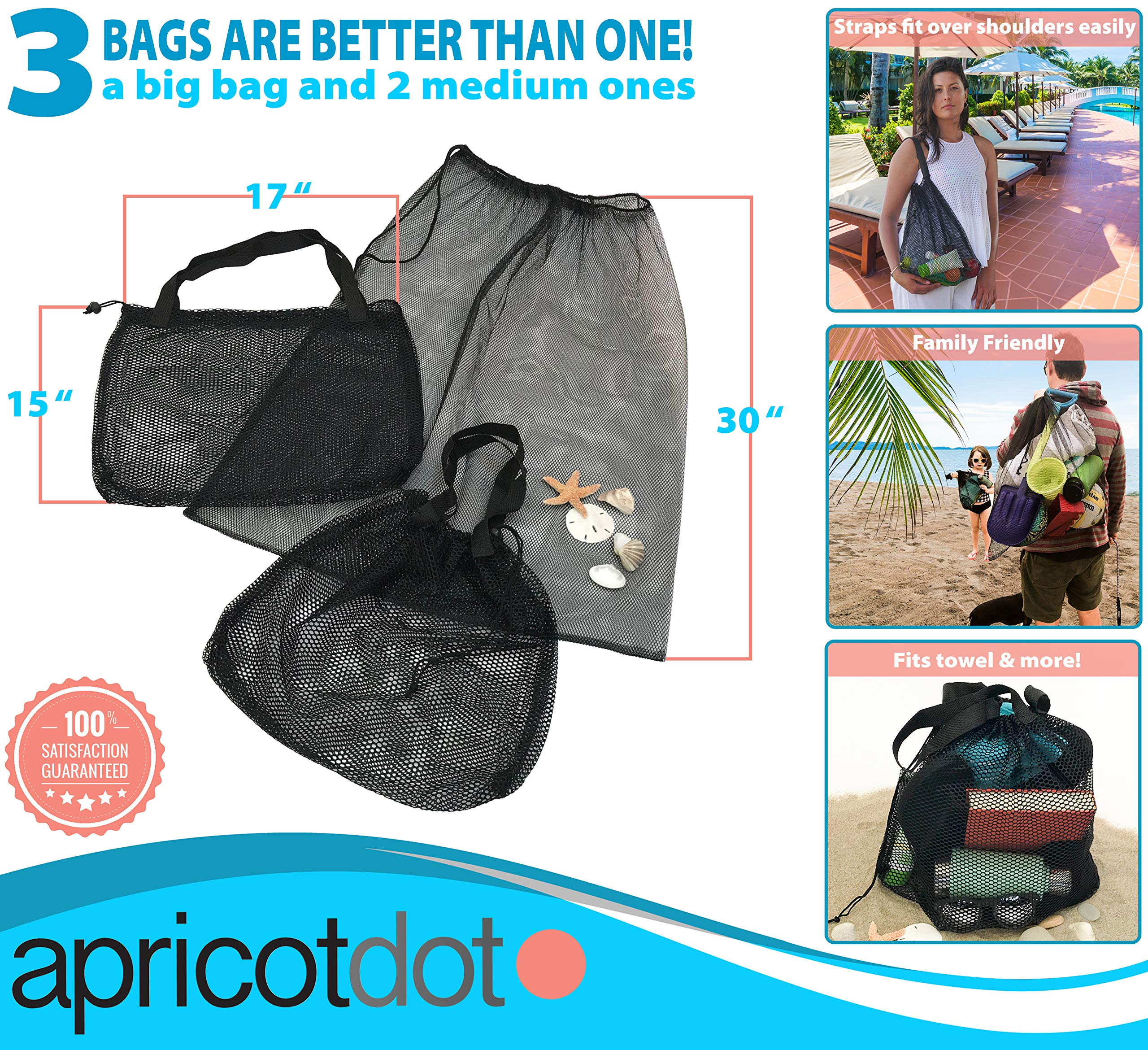 Beach Tote - Gym Bag - Set of 3 with 2 Sizes - Mesh Urban Design for Multi Use by apricot dot (Image #2)
