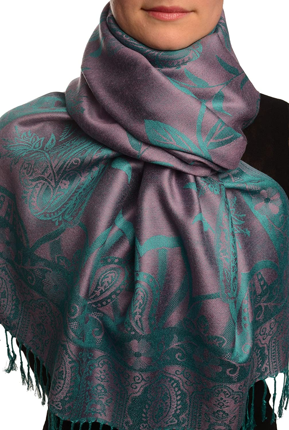 Moroccan Rose On Mauve Pink Pashmina Feel With Tassels - Scarf
