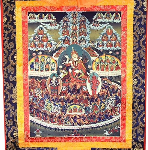 Mandala Crafts Thangka Painting, Thanka Scroll, Tangka Tibetan Arts, Buddha Wall Hanging D cor for Meditation, Yoga Room Large, Guru Rinpoche