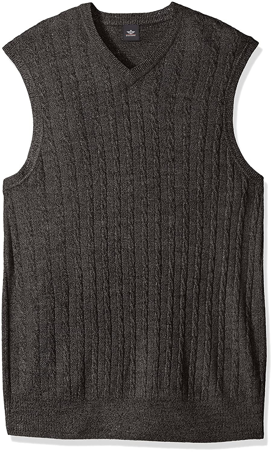 Dockers Mens Big-Tall Big & Tall Soft Acrylic Solid Cable Links Links-Vest Storm Marl Large/Tall Docker's Men's Tops 81116TF