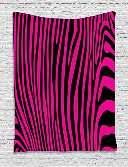 Amazon.com: Pink Zebra Tapestry by Ambesonne, Stylish African Animal ...