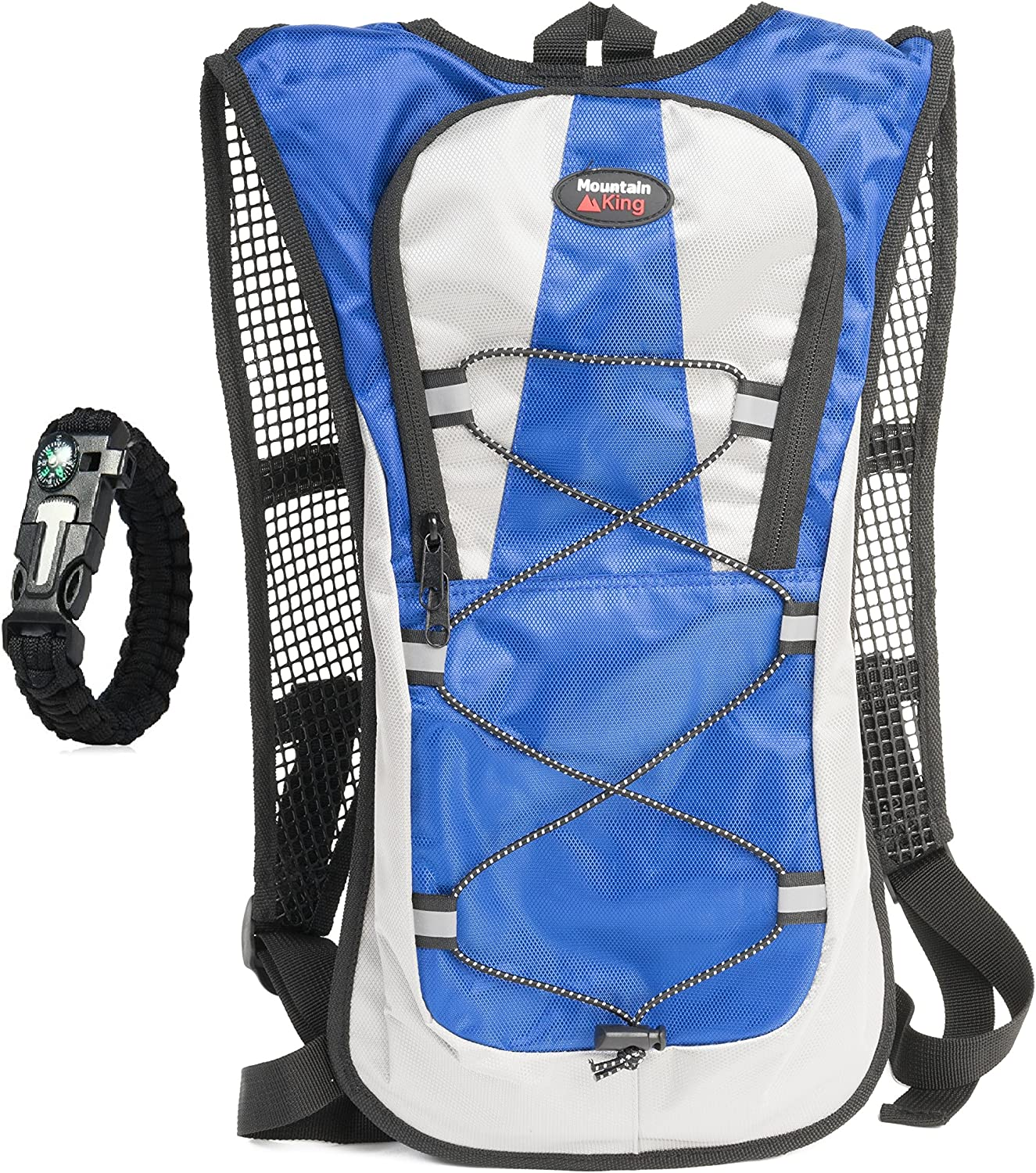 Hydration Pack Backpack 2L 2 Liter Water Bladder Best Pack for Hiking, Running, Climbing, Cycling, Biking – Includes Flint Fire Starter with Built in Compass and Whistle – by Mountain King