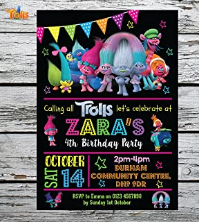 trolls photo personalised party invitations birthday invites