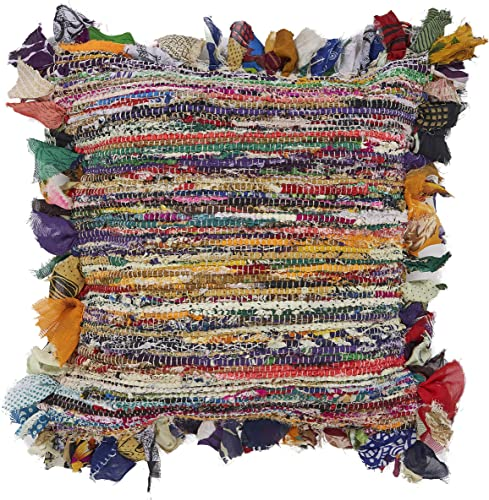 L.R. Resources Chindi Stripe Throw Pillow, 18 X 18 , Multi