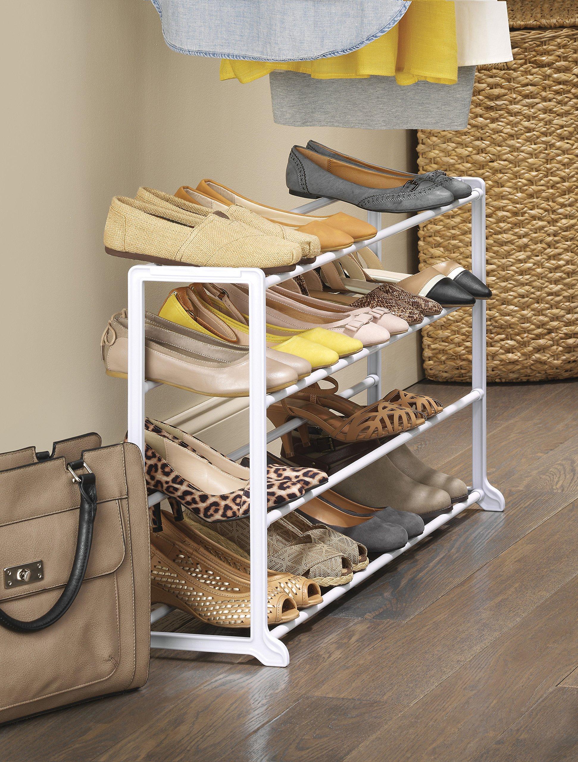 Whitmor 20 pair floor shoe rack white prodotalk for Muebles para acomodar zapatos