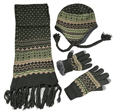 a879e3d0061 N Ice Caps Women s Sherpa Lined Knit Hat Scarf Touchscreen Glove 3PC Skier  Set (