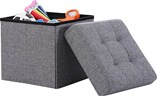 Ornavo Home Foldable Tufted Linen Storage Ottoman Square Cube Foot Rest Stool/Seat
