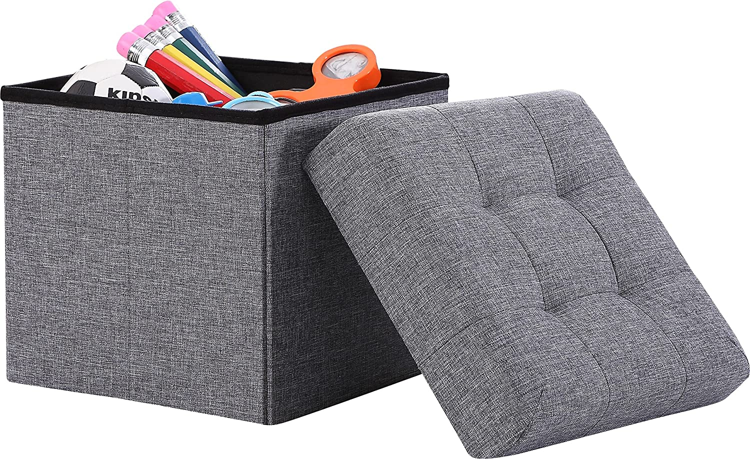 "Ornavo Home Foldable Tufted Linen Storage Ottoman Square Cube Foot Rest Stool/Seat - 15"" x 15"" x 15"" (Grey)"