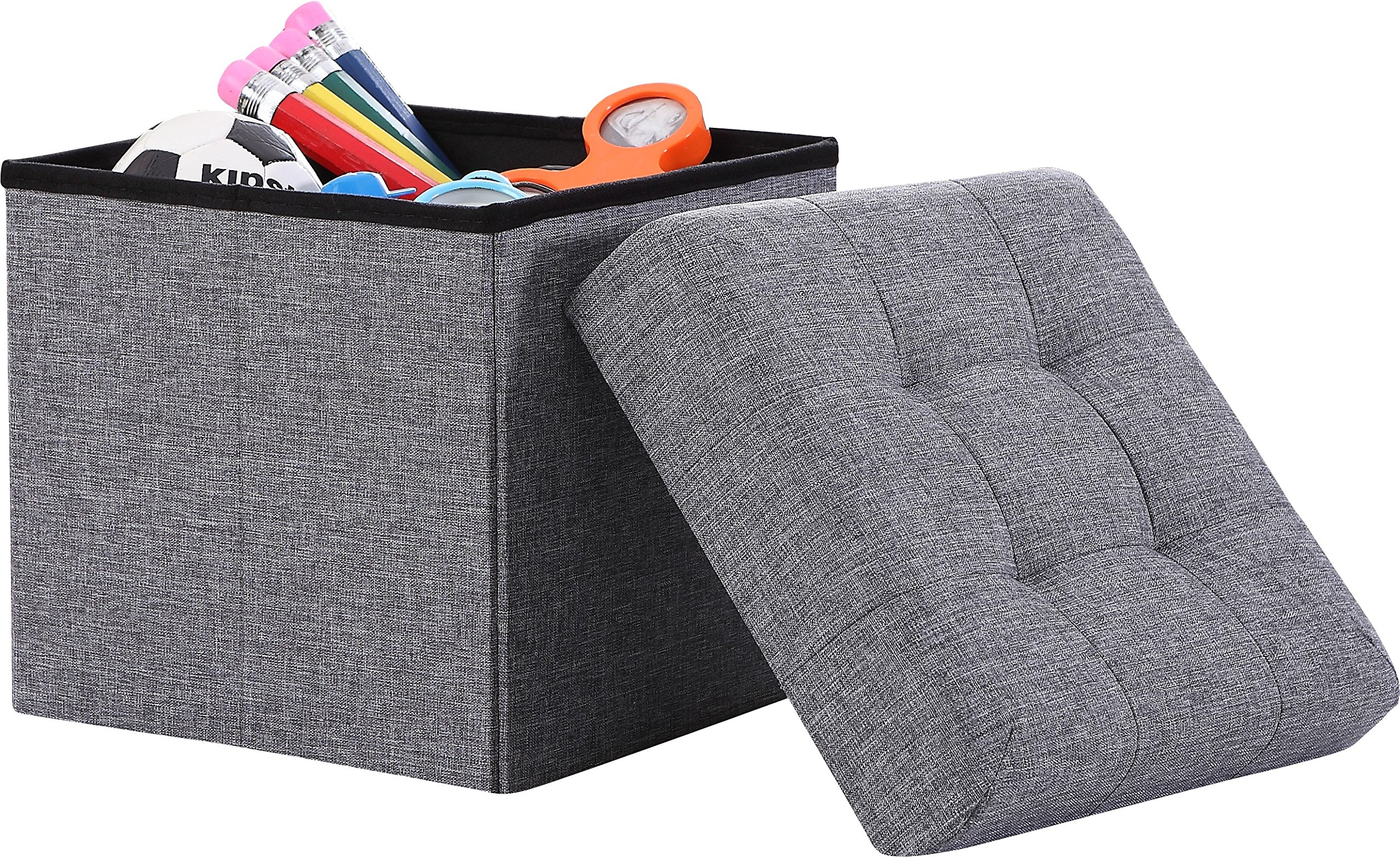 Ornavo Home Foldable Tufted Linen Storage Ottoman Square Cube Foot Rest Stool/Seat - 15'' x 15'' x 15'' (Grey) by Ornavo Home