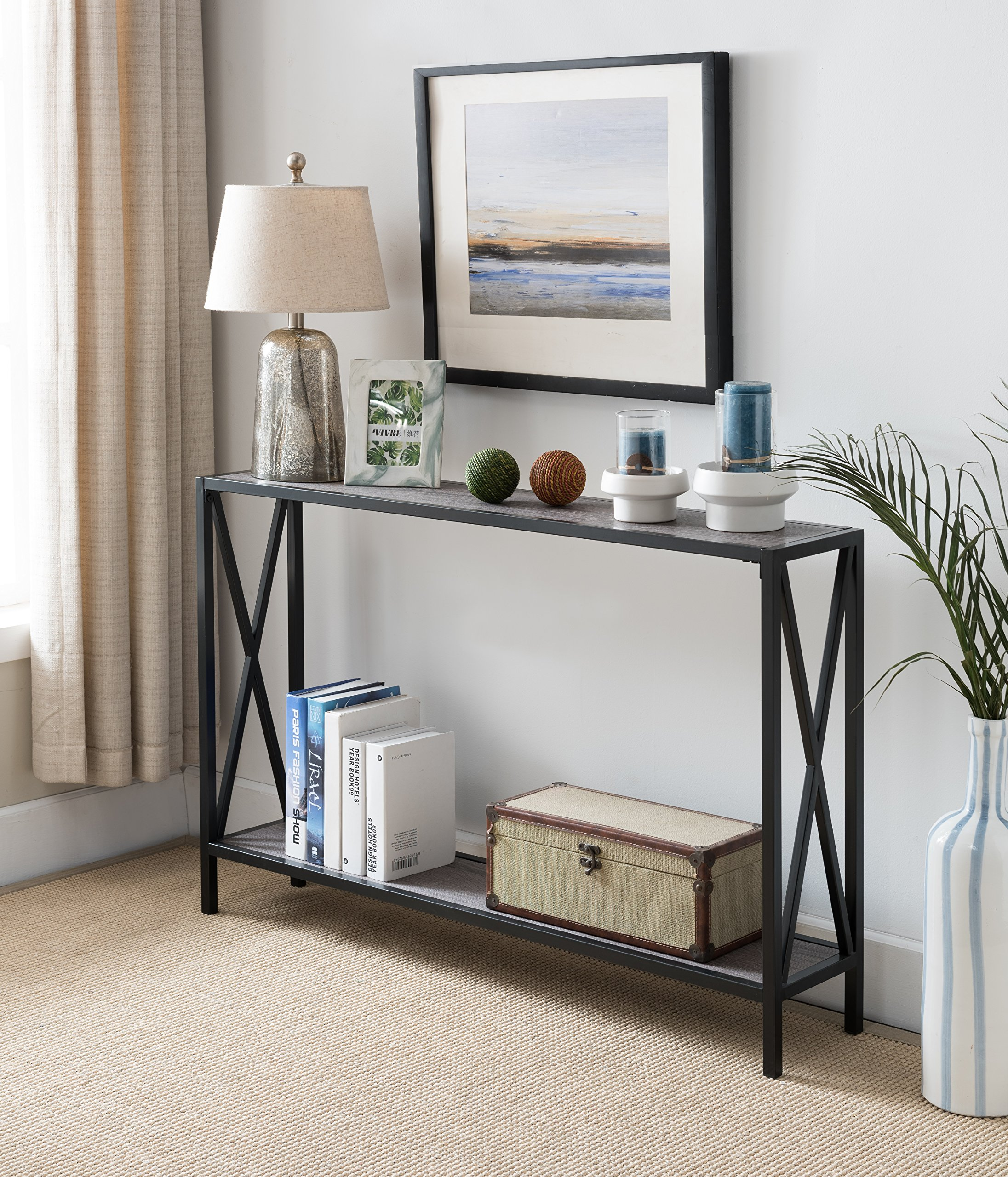 Grey/Black Metal Frame 2-Tier Entryway Console Sofa Table with X-Design Sides - Color: Grey and Black Material: Metal, MDF/Hardwood Features X-design on the sides with lower Shelf - living-room-furniture, living-room, console-tables - A1DXDj85%2BmL -