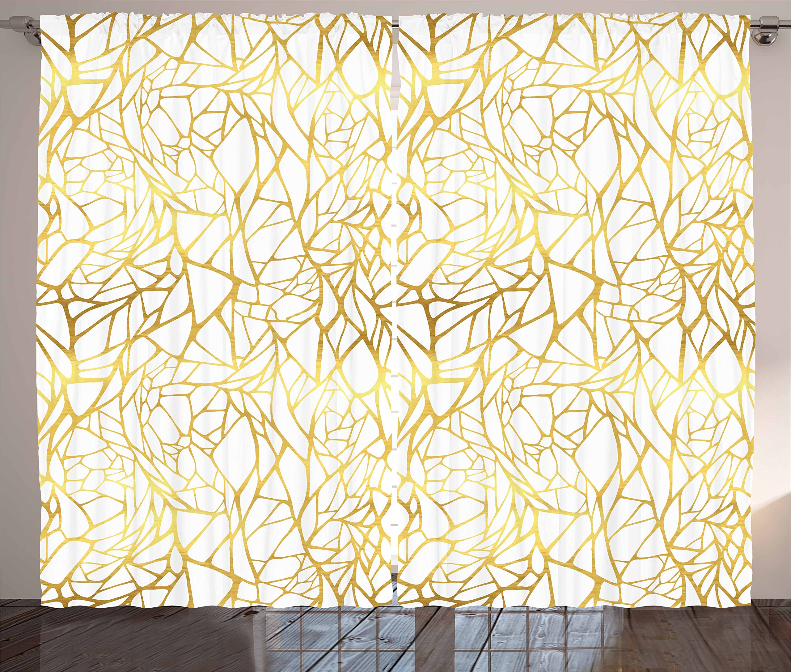 Ambesonne Contemporary Curtains, Abstract Ornament Exotic Animal Pattern Style Feminine Glamor Print, Living Room Bedroom Window Drapes 2 Panel Set, 108 W X 63 L inches, Gold Yellow and White