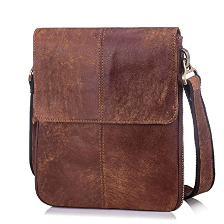 463518f249 Men s Genuine Cowihde Leather Casual Satchel Crossbody Slim Folding  Shoulder Messenger Bag - Brown  Amazon.co.uk  Luggage