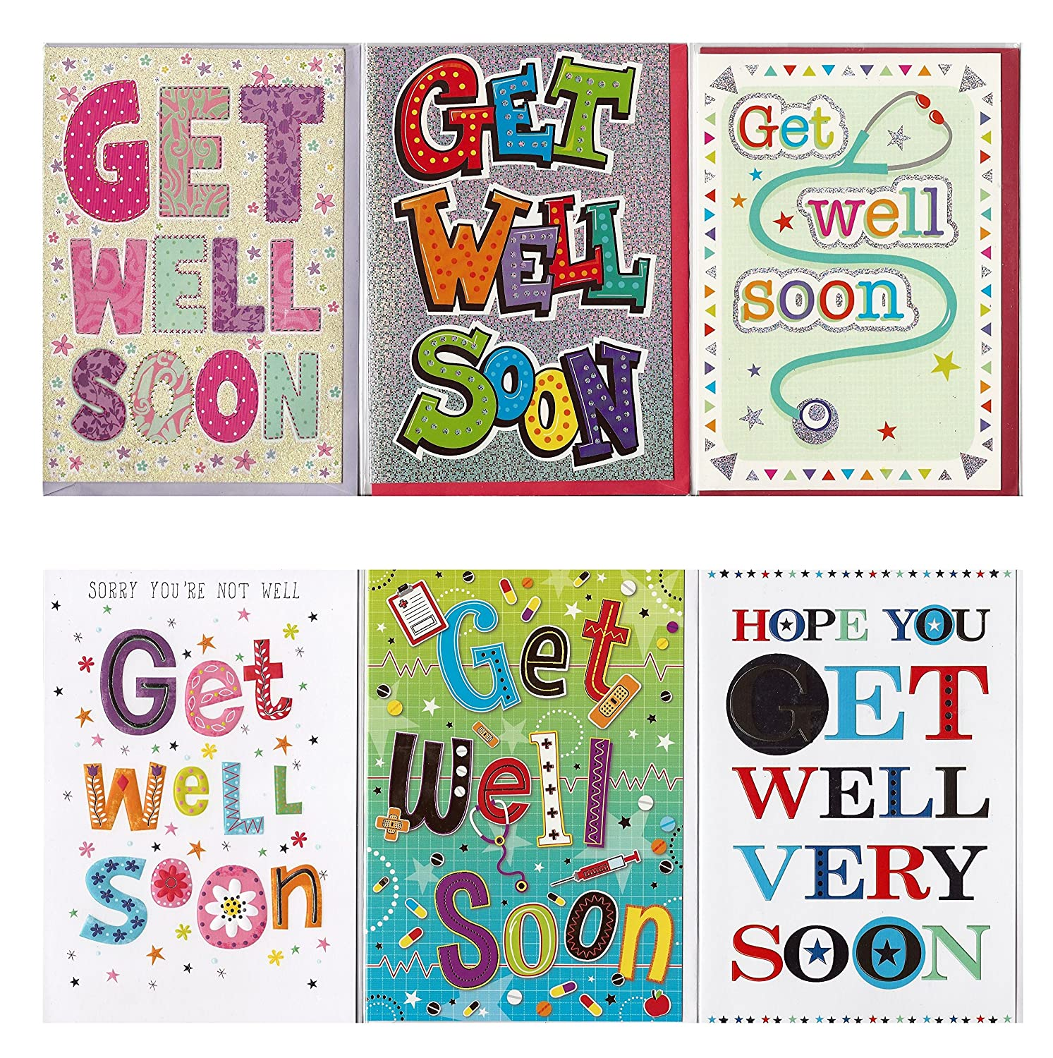 8 Contemporary Get Well Soon Greeting Cards In Greetingles Pack