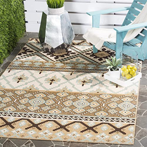 Safavieh Veranda Collection VER097-0215 Indoor/ Outdoor Cream and Brown Contemporary Southwestern Area Rug 5'3″ x 7'7″