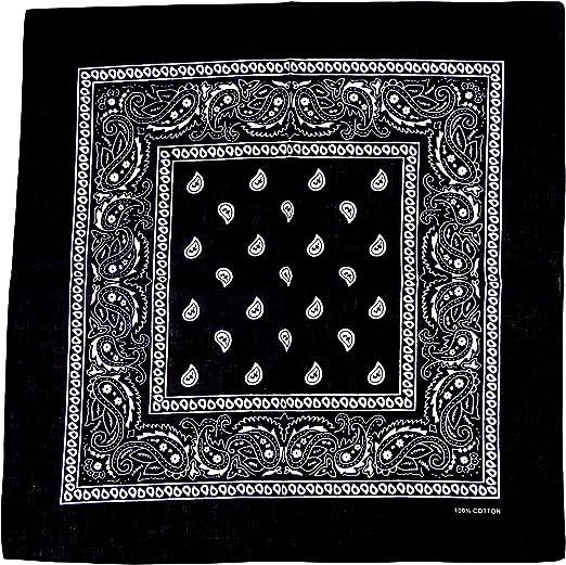 Cotton Square Black Bandana Neckachief Face Mask
