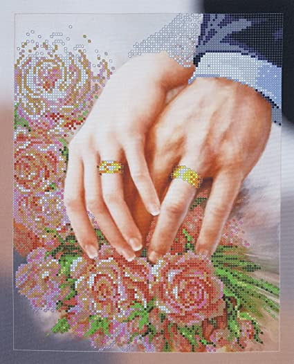 Amazon Com Wedding Beaded Cross Stitch Kit Bride And Groom