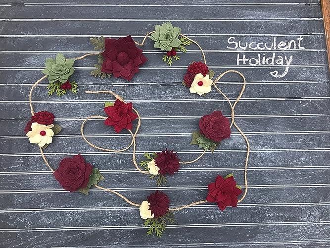 Amazon Com Wool Felt Succulent Holiday Garland Christmas Garland