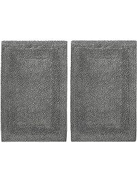 cotton craft 2 piece reversible step out bath mat rug set 17x24 charcoal 100