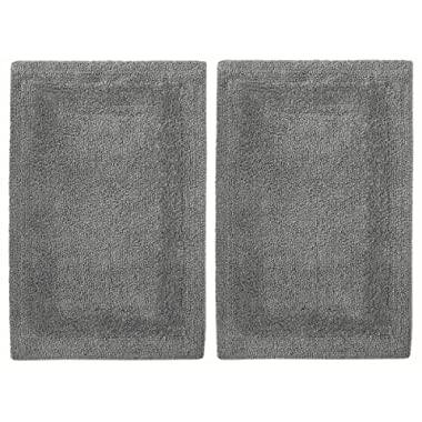 Cotton Craft 2 Piece Reversible Step Out Bath Mat Rug Set 21x34 Charcoal, 100% Pure Cotton, Super Soft, Plush & Absorbent, Hand Tufted Heavy Weight Construction, Full Reversible, Rug Pad Recommended
