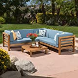 Ravello Outdoor Patio Furniture ~ 4 Piece Wood Outdoor Sectional Sofa Set w/ Water Resistant Cushions (Blue)