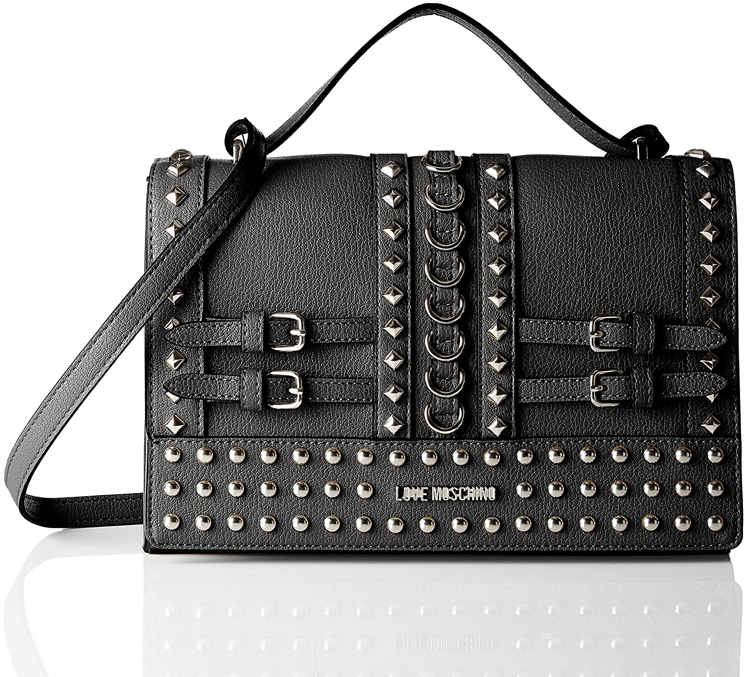 c03ec2b5ce2 Amazon.com: LOVE Moschino Women's Shoulder Bag with Belt Studs Black One  Size: Shoes