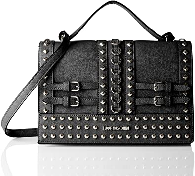 dc4d2dddf2a Amazon.com: LOVE Moschino Women's Shoulder Bag with Belt Studs Black One  Size: Shoes