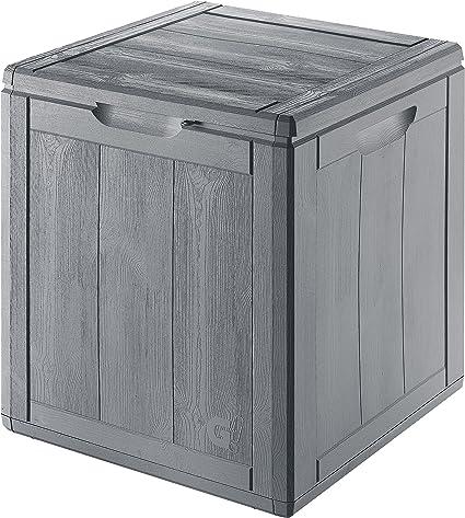 Gensini Aufbewahrungsbox Wood Finish Grau Lt 90 Cm 43x44 5x51h Kissenbox Gartenbox Terrassenbox Amazon De Garten